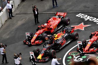 Sebastian Vettel, Ferrari SF71H and Max Verstappen, Red Bull Racing RB14 in Parc Ferme