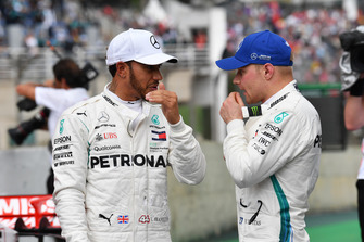 Lewis Hamilton, Mercedes AMG F1 and Valtteri Bottas, Mercedes AMG F1 in Parc Ferme