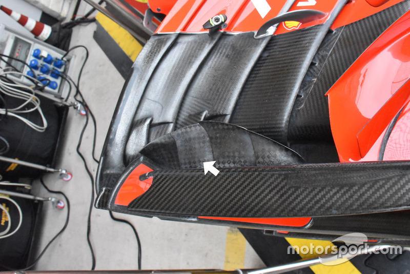 Detalle del alerón de delantero del Ferrari SF71H
