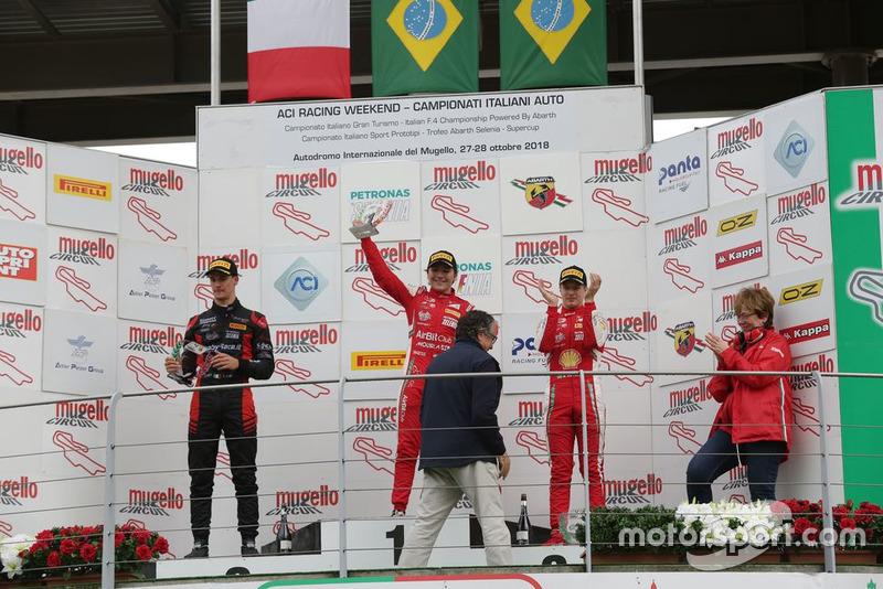 Подиум: победитель Энцо Фиттипальди, Prema Theodore Racing, второй Леонардо Лоранди, Bhaitech, третий Джанлука Петекоф, Prema Theodore Racing