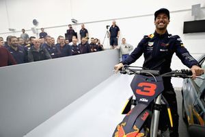 Daniel Ricciardo, Red Bull Racing poses for a photo with his KTM bike