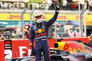 Max Verstappen, Red Bull Racing, celebrates in Parc Ferme after securing pole