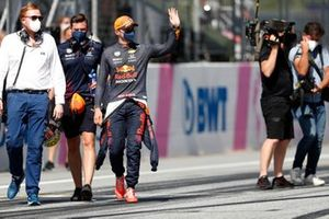 Pole man Max Verstappen, Red Bull Racing, waves from Parc Ferme