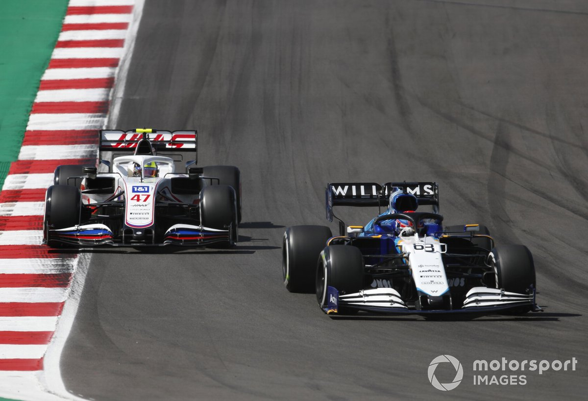 George Russell, Williams FW43B, Mick Schumacher, Haas VF-21