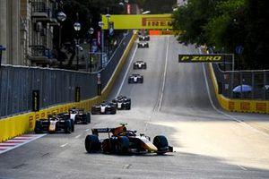 Juri Vips, Hitech Grand Prix, leads Jehan Daruvala, Carlin