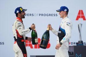 Lucas Di Grassi, Audi Sport ABT Schaeffler, third position, Maximilian Guenther, BMW I Andretti Motorsport, first position, congratulate each other on the podium