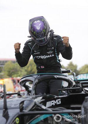 Lewis Hamilton, Mercedes, 1st position, arrives in Parc Ferme