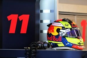The helmet of Sergio Perez, Red Bull Racing RB16B