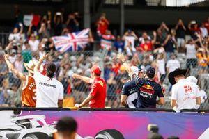 Daniel Ricciardo, McLaren, Lewis Hamilton, Mercedes, Charles Leclerc, Ferrari, Sergio Perez, Red Bull Racing, Mick Schumacher, Haas F1, and other drivers in the drivers parade