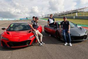 Honda NSX photoshoot attended by Max Verstappen, Red Bull Racing, Sergio Perez, Red Bull Racing, Pierre Gasly, AlphaTauri and Yuki Tsunoda, AlphaTauri
