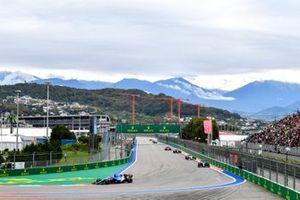 Fernando Alonso, Alpine A521, Esteban Ocon, Alpine A521, and Kimi Raikkonen, Alfa Romeo Racing C41
