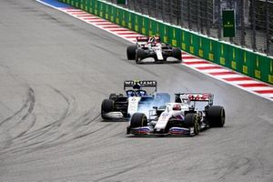 Nikita Mazepin, Haas VF-21, Nicholas Latifi, Williams FW43B, and Antonio Giovinazzi, Alfa Romeo Racing C41