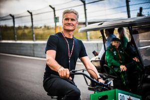 David Coulthard on a bicycle at Circuit Zandvoort