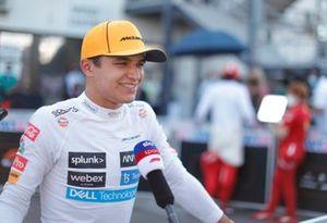 Lando Norris, McLaren, is interviewed after Qualifying