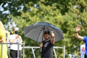 Lewis Hamilton, Mercedes, in the drivers parade
