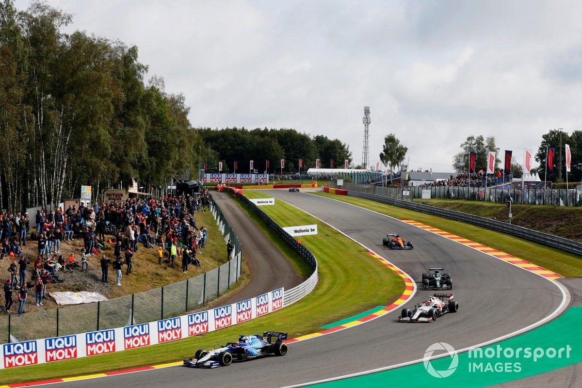 George Russell, Williams FW43B, Antonio Giovinazzi, Alfa Romeo Racing C41, Lance Stroll, Aston Martin AMR21, and Daniel Ricciardo, McLaren MCL35M