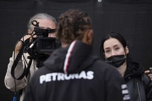 Lewis Hamilton, Mercedes, is inerviewed