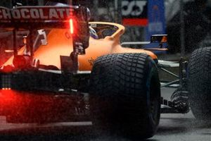 Daniel Ricciardo, McLaren MCL35M, in the pit lane