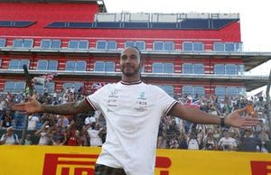 Race winner Lewis Hamilton, Mercedes, celebrates after the race