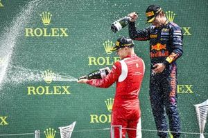 Arthur Leclerc, Prema Racing and Race Winner Dennis Hauger, Prema Racing celebrate on the podium with the champagne