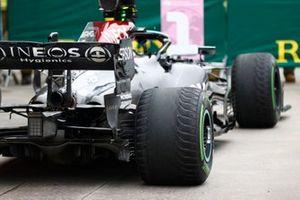 The car of Valtteri Bottas, Mercedes W12, 1st position, in Parc Ferme