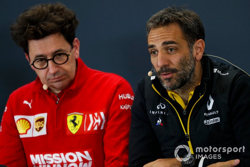 Cyril Abiteboul, Managing Director, Renault F1 Team, and Mattia Binotto, Team Principal Ferrari