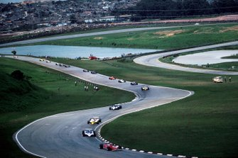Gilles Villeneuve, Ferrari, Jean-Pierre Jabouille, Renault,Didier Pironi, Ligier, al GP del Brasile del 1980