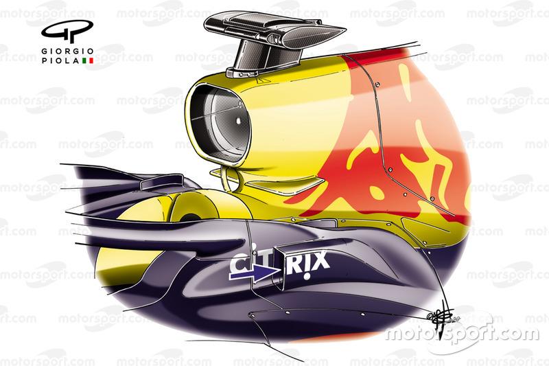 Red Bull Racing RB16, dettaglio dello sfogo