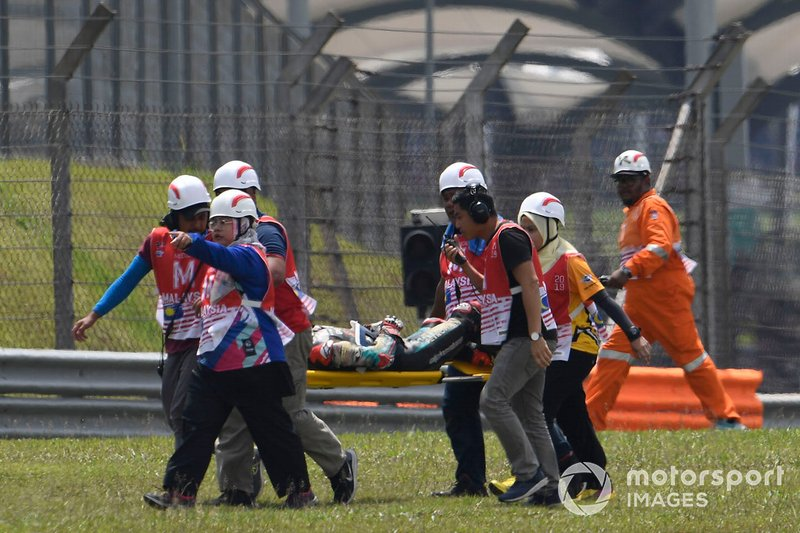 Ayumu Sasaki, SIC Racing Team after his crash