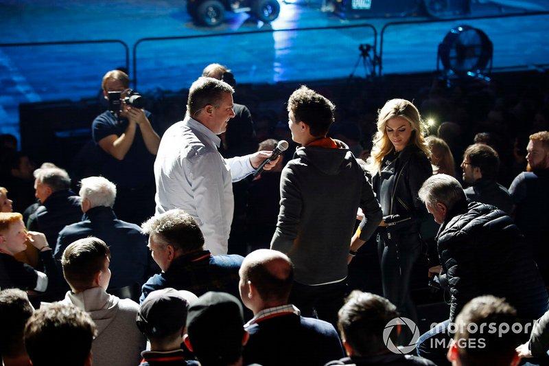 David Croft, Sky TV interviews Lando Norris, McLaren in the Live Action tion Arena