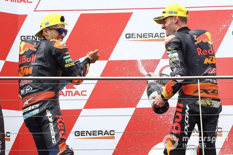 Podium: race winner Jorge Martin, KTM Ajo, second place Brad Binder, KTM Ajo