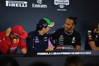 Sebastian Vettel, Ferrari, Sergio Perez, Racing Point and Lewis Hamilton, Mercedes AMG F1 in the Press Conference