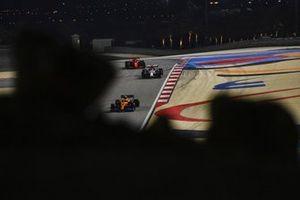 Lando Norris, McLaren MCL35, Antonio Giovinazzi, Alfa Romeo Racing C39, and Charles Leclerc, Ferrari SF1000