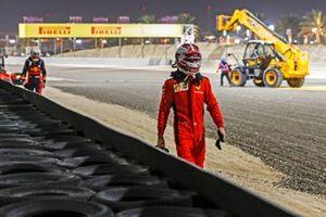 Charles Leclerc, Ferrari, walks away after retiring