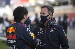 Sergio Perez, Red Bull Racing, with Christian Horner, Team Principal, Red Bull Racing