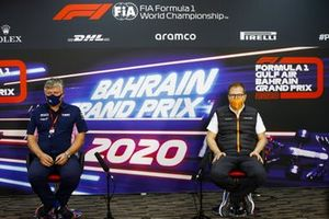Otmar Szafnauer, Team Principal and CEO, Racing Point, and Andreas Seidl, Team Principal, McLaren, in the team principals Press Conference