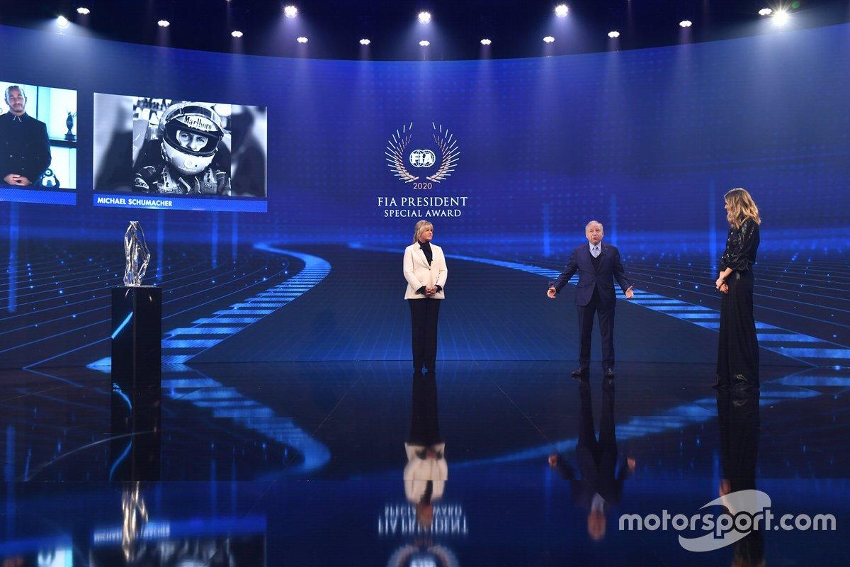 Corinna Schumacher, Jean Todt, presidente de la FIA, Nicki Shields y Lewis Hamilton