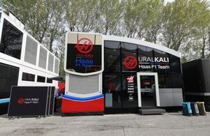 Haas F1 motorhome in the paddock