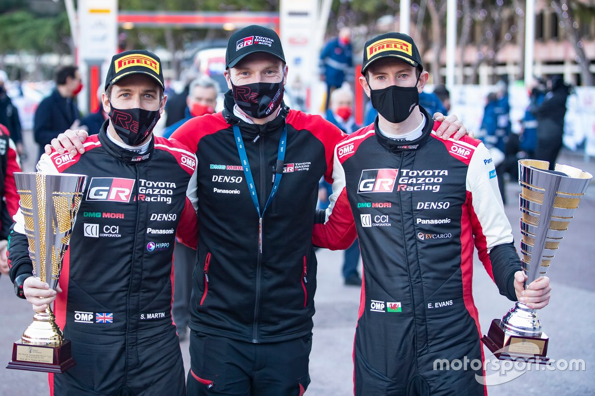 Elfyn Evans, Scott Martin, Toyota Gazoo Racing WRT Toyota Yaris WRC with Jari-Matti Latvala, Team principal Toyota Gazoo Racing