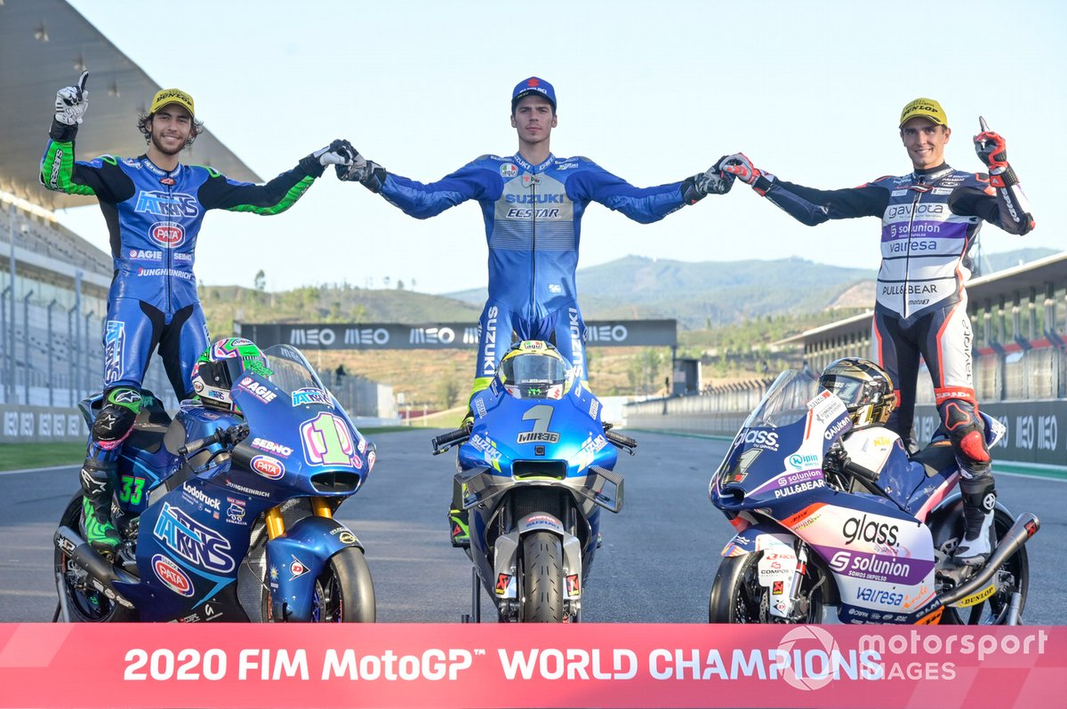 Motorrad-Weltmeister 2020: Enea Bastianini (Moto2), Joan Mir (MotoGP), Albert Arenas (Moto3)