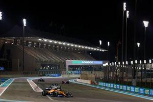Lando Norris, McLaren MCL35, Daniil Kvyat, AlphaTauri AT01, Lance Stroll, Racing Point RP20, and Lewis Hamilton, Mercedes F1 W11