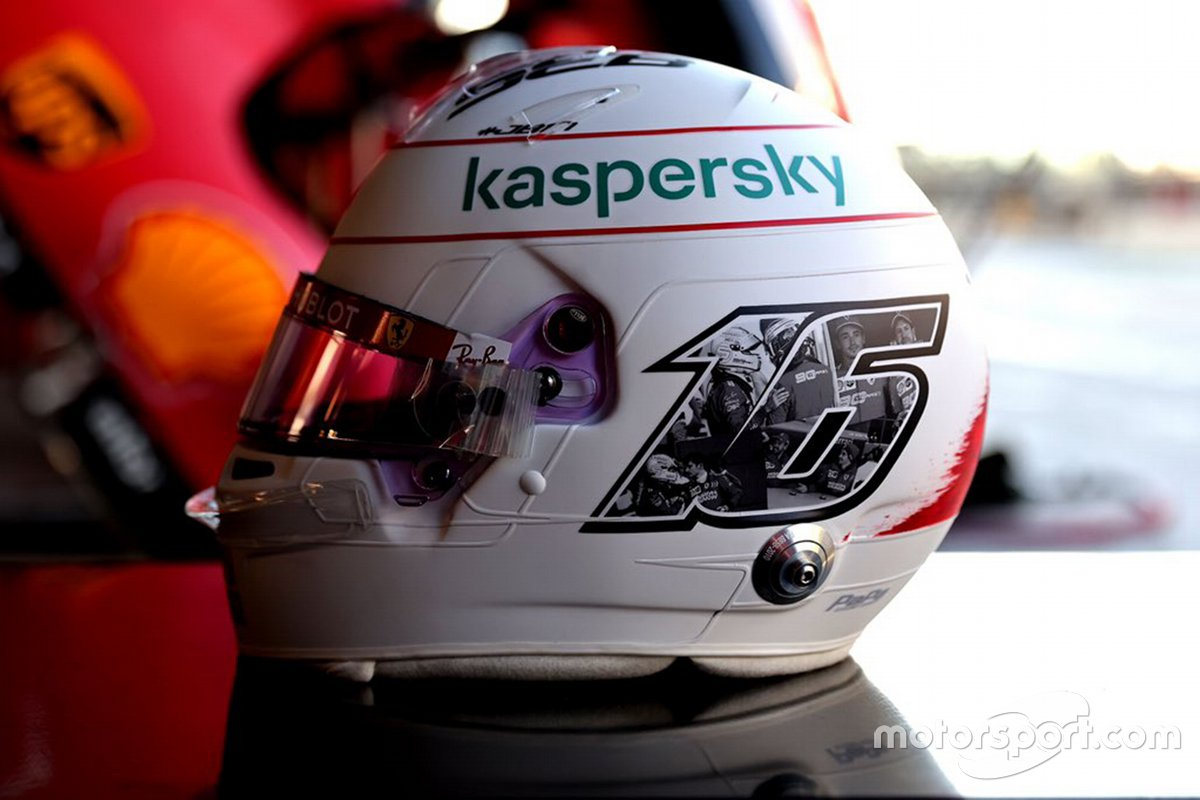 Helmet of Charles Leclerc, Ferrari for the last race of 2020