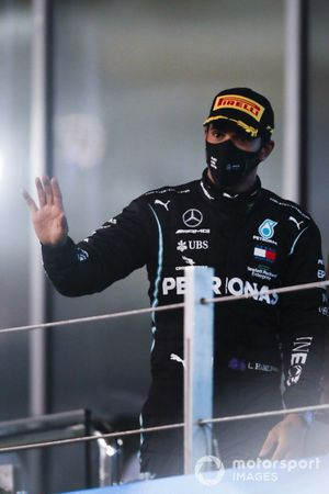 Lewis Hamilton, Mercedes-AMG F1, 3rd position, arrives on the podium