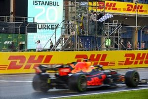 Max Verstappen, Red Bull Racing RB16, passes the chequered flag