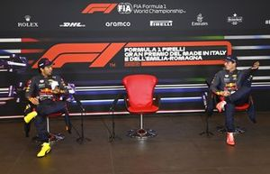 Sergio Perez, Red Bull Racing, and Max Verstappen, Red Bull Racing, in the Press Conference