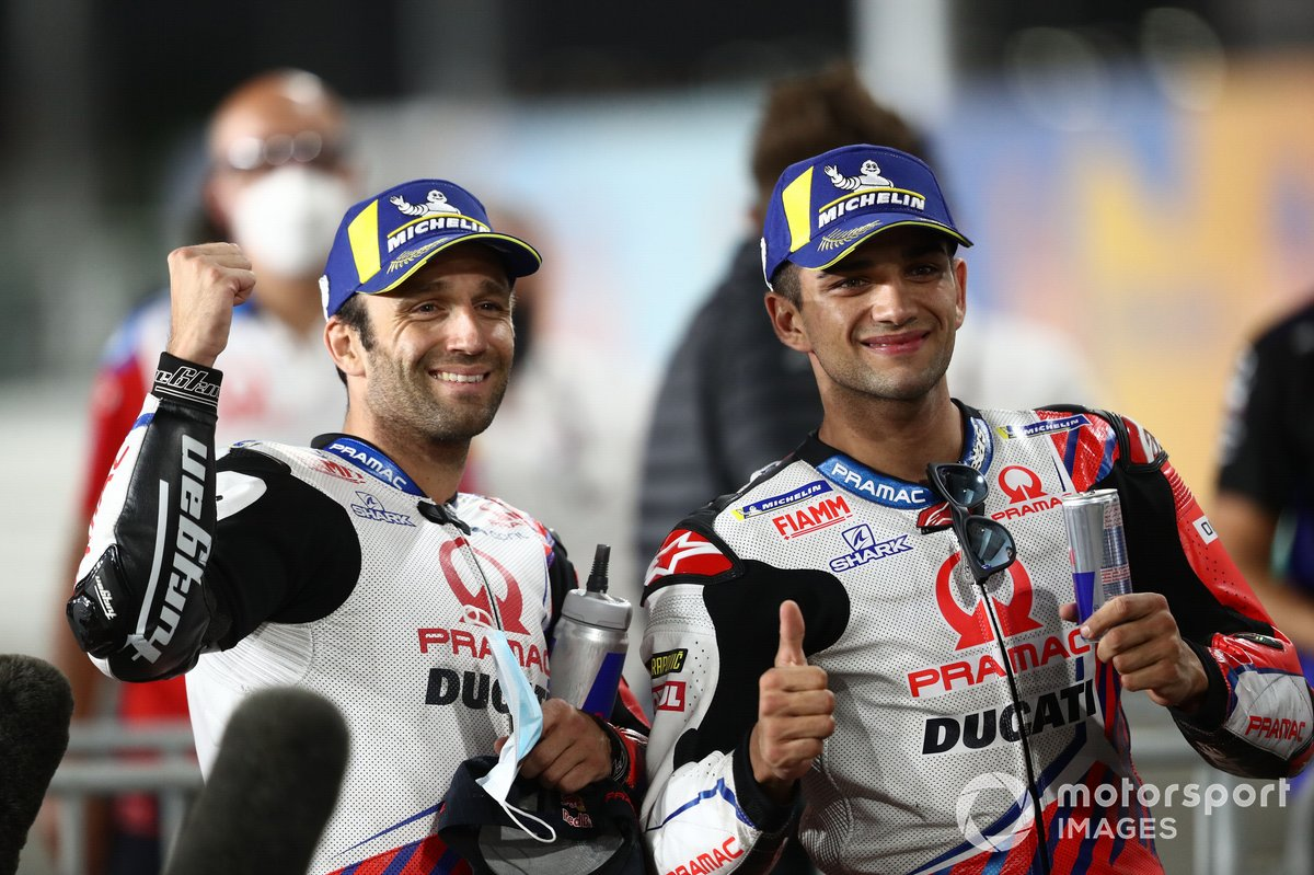 Johann Zarco, Pramac Racing, ganador de la pole Jorge Martin, Pramac Racing parc ferme