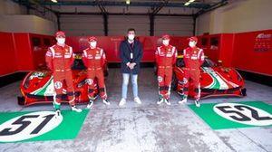 Alessandro Pier Guidi, James Calado, AF Corse, Marco Congiu, giornalista di Motorsport.com, Daniel Serra, Miguel Molina, AF Corse, Ferrari 488 GTE Evo