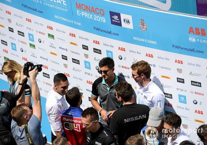 Mitch Evans, Panasonic Jaguar Racing, talks to Oliver Turvey, NIO Formula E Team, Sébastien Buemi, Nissan e.Dams, Jérôme d'Ambrosio, Mahindra Racing, Oliver Rowland, Nissan e.Dams