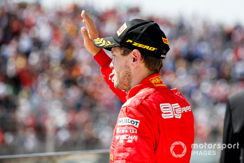 Sebastian Vettel, Ferrari, 2nd position, o the podium