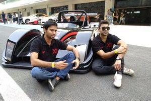 Armaan Ebrahim & Aditya Patel with the X1 Racing League car